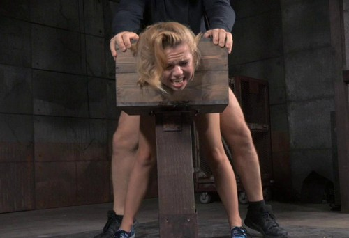 Blue eyed blonde Alina bolted into a wooden box and roughly fucked by BBC, drooling deepthroat!